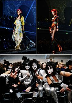 inspired design like Boy George and Ziggy Stardust...with front row appearance by Kiss doppelgängers   Tumblr