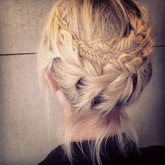 Elaborate crown braid with 2 sizes & types of braids