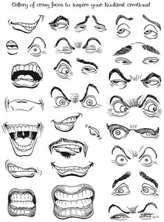 Practice makes perfect! Think of what emotions you want to convey, then choose the best example to help you. facial, doodl, cartoon sketch, eye, dessin animé, caricatur