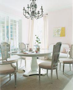 blush, feminine breakfast room