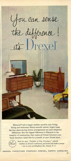 Drexel Biscayne Magazine Ad 1956 by vintagevisual on Etsy, $10.00