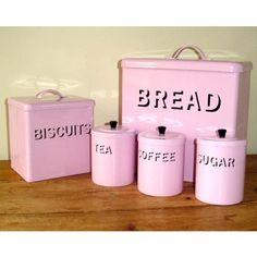 Shabby Chic PINK Enamel Bread Bin set - oh so girly if i had a retro kitchen