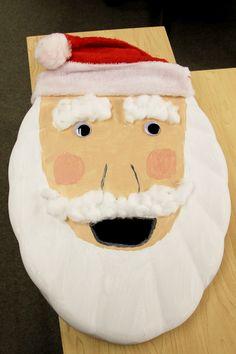 #14 - Santa toilet seat wreath + red and white fuzzy hat!