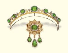 Antique Peridot And Seed Pearl Demi-Parure Comprising Of A Tiara And Brooch, Mounted In Gold c. 1830's - Christie's