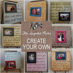 DIY quote frames.... I have GOT to figure these out, find someone to cut wood for me, buy a Cricut, win the lottery... and the list goes on!!  :0)