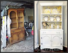 before and after cabinet makeovers, idea, chocolates, china cabinets, hutch redo, cabinet redo, sneak peak, project sneak, diy