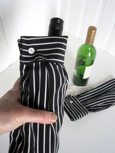 Wine Bottle Gift Bag - Bottle Bag Upcycled Shirt