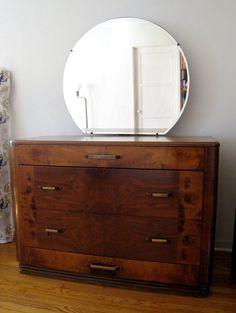 Gorgeous 1940s Streamlined Art Deco Dresser with Mirror. $250.00, via Etsy.