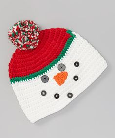 White & Red Snowman Crochet Pom-Pom Beanie  #crochet #inspiration
