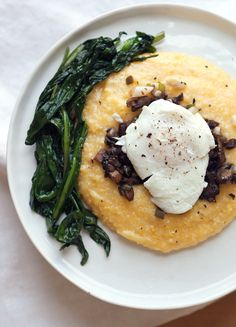 Breakfast Polenta with Wild Ramps and Mushrooms