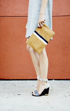 Clare Vivier Clutch + Tory Burch wedges