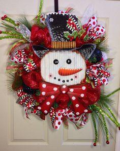 Snowman Mesh Christmas Wreath on Etsy, $125.00