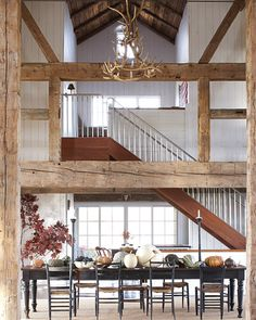 dining rooms, interior, antler, barn hous, chandeliers, loft, barns, barn homes, wood beams