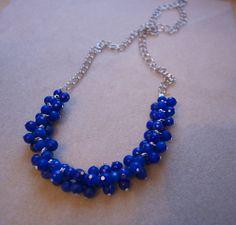 DIY Cobalt Blue Cluster Necklace | My Girlish Whims
