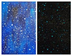 Original Mixed Media Painting - Your Own Universe - Phosphorescent Stars - Illuminating in the dark- Home Decor  #art #original #painting #watercolor #abstract #ooak #one #of #a #kind #decor #decoration #stylish #ornate #neat #hippie #glitter #powder #stellar #sky #night #dream #dreamer #hipster #stars #star #phosphorescent #luminescent  #light #lighting #unique $27
