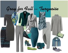 Ideas for wearing gray - mix it with turquoise and green!   40plusstyle.com