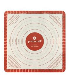 Pizzacraft Dough Rolling Mat: This slip-proof mat is marked with outlines for five different sizes.