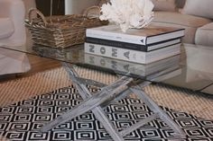 Layer a throw rug over an area rug for a pop of color; Salvage Dior