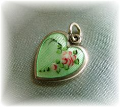 Vintage Walter Lampl green guilloche  puffy heart charm~Exquisite~$325