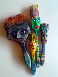 Brush Heads.  Made from spent brushes. So fun! recycl, idea, craft, new life, art, paintbrush, paints, paint brushes, kid