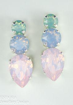 Pastel crystal earrings | Pastel crystal jewelry | pastel wedding | crystal earrings