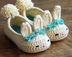 Toddler Bunny Slippers- The Classic Year-Round Bunny Slipper Crochet Pattern - Childrens shoe Sizes 4 - 9 - Number 214 Instant Download