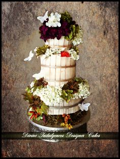 Country Diva Wedding Cake - Rustic style wedding cake.Got inspired by the barrels used to crush grapes and make wine. Thank you for looking.