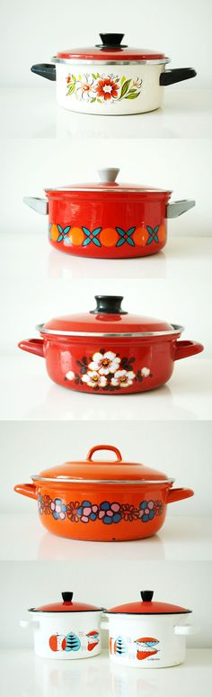 Colorful vintage cooking pans!