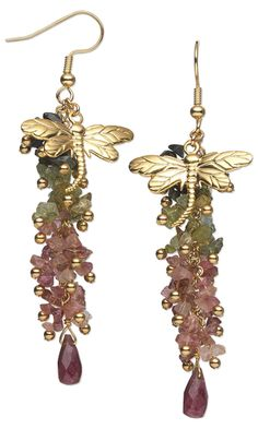 Earrings with Multicolored Tourmaline Gemstone Beads and Gold-Plated Brass Dragonfly Charms. Design by Rose Wingenbach. #FMG Design Idea A75N