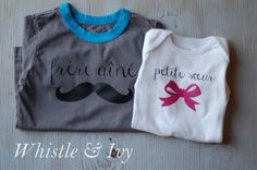 Matching Little Sister, Big Brother Shirts. Perfect for new baby! #PickYourPlum #HeatTransferVinyl