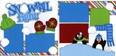 scrapbook nook, scrapbook winter, snowbal fight, winter layout, scrapbook layout