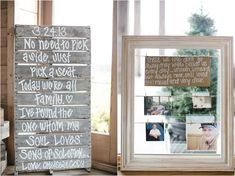 Rustic wedding idea: Write a message or a bible verse on an old pallet and stand it up at the reception! Also, hang photos of special people you want to remember at your wedding in a cute frame. #wedding #DIY #DIYwedding #weddinginspiration