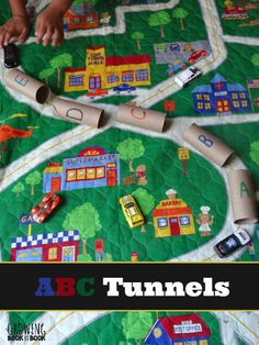 Toilet Paper Roll ABC Tunnels - ABC activity to play with cars and trains!