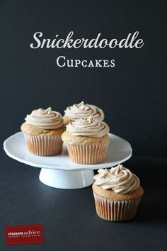 Snickerdoodle Cupcakes from MomAdvice.com. Made from a simple boxed cake mix.