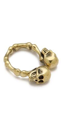 Two Skulls Ring