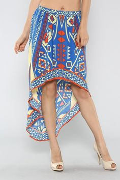 Aztec High Low Skirt #southwestern #wholesale #prints #dresses #skirts #tops #shorts #summer #love #fashion #clothing