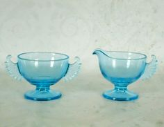 Blue Depression Glass Winged Cream and Sugar Set - Vintage Blue Glass Cream and Sugar