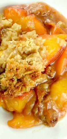 luscious peach, cobbler, citrus, butteri, peach crisp, oatmeal streusel, bake, streusel top, dessert