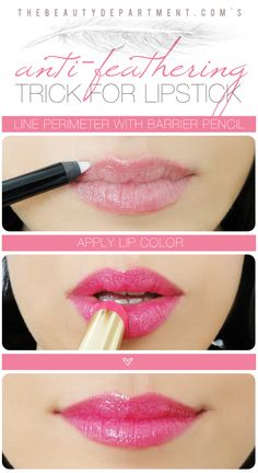 TBD Anti Feathering Trick... Drug Store versions, L'oreal and Maybelline both make clear lip pencils, apparently hard to find though. Laura Mercier makes one as well. lipsticks, pencil, makeup tutorials, beauty tutorials, laura mercier, candies, lip colors, makeup contouring, lipstick colors