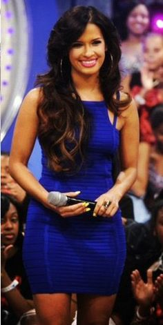 Rocsi Diaz in our Royal blue bandage dress available here: https://www.hotmiamistyles.com/Royal_Blue_Ribbed_Accent_Double_Straps_Bandage_Dre_p/b1394%20royal-blue%20%28b%29.htm