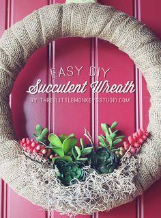 Easy DIY Succulent Wreath - Three Little Monkeys Studio