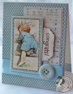This precious Little Darlings Card is a 10-Minute Card by @Gloria Mladineo Stengel! So sweet, beautiful, and easy peasy! #graphic45 #cards