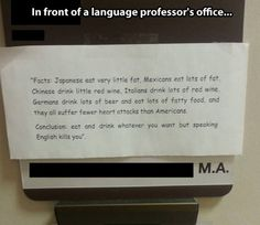 In front of a language professor's office.