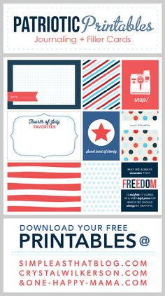 Fourth of July themed journaling and filler cards. Free download! patriot printabl, printable, filler card