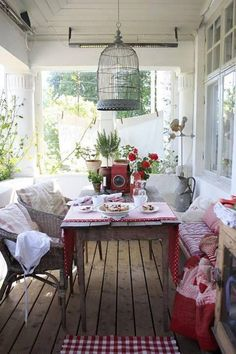 country porches, cottag, light fixtures, birdcages, patio, back porches, veranda, birds, front porches