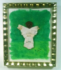 Angel of Green #7 upcycled cigarette butt litter art mounted on acrylic painting of spirals, heart and greenery.