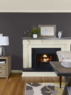 wall: silhouette (AF-655), ceiling, trim & fireplace: monterey white (HC-27)