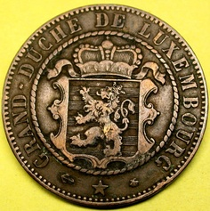 1865 A Luxembourg 10 Centimes SCARCE WORLD COIN in GREAT SHAPE!