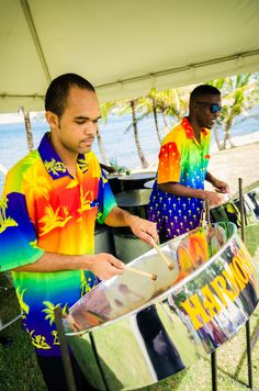 Live entertainment with a Saint Lucian flare plays at the wedding reception on Pigeon Island.