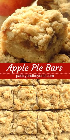 Apple Pie Bars Recipe-This delicious apple pie bars recipe with crumb topping is crunchy and soft. You'll use the same shortbread dough for the crust and the crumbles to make these easy and from scratch apple pie bars. #pastryandbeyond #apple #applepie #bars #crumble #easy #recipe  Recipe on pastryandbeyond.com with step by step pictures.